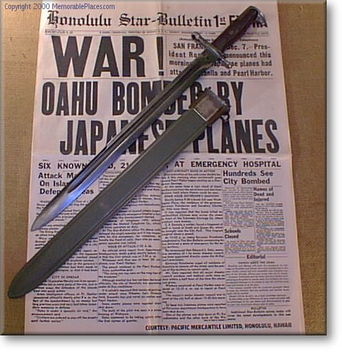 17 Inch Bayonet on reproduction newspaper of Pearl Harbor Attack