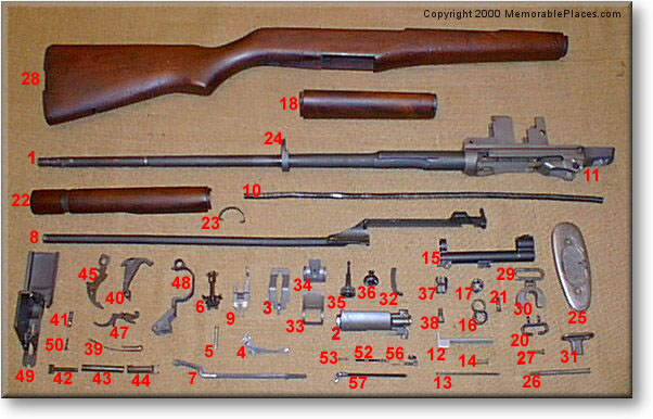 Click for larger image M1 Garand Parts Locator. Copyright 2000 MemorablePlaces.com